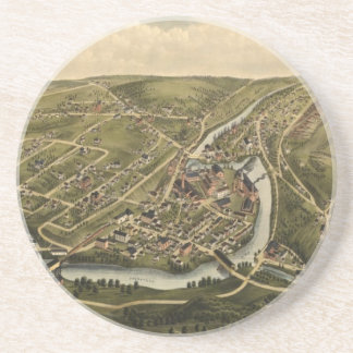 Vintage Map of Seymour Connecticut (1879) Sandstone Coaster