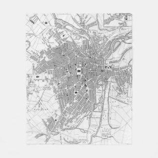 Vintage Map of Sheffield England (1823) Fleece Blanket