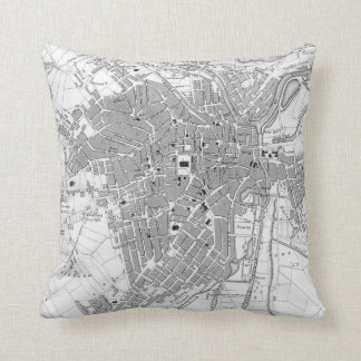 Vintage Map of Sheffield England (1823) Throw Pillow