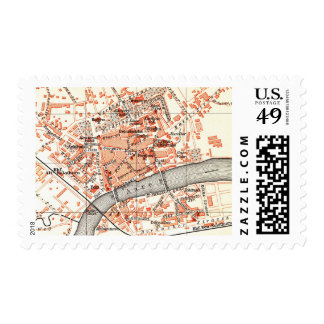 Vintage Map of Solothurn Switzerland (1913) Postage Stamp