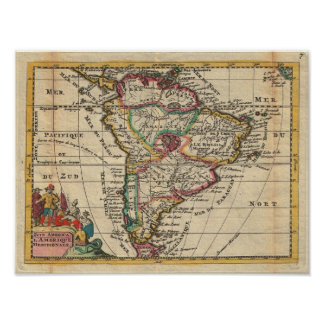 Vintage Map of South America (1747) Poster