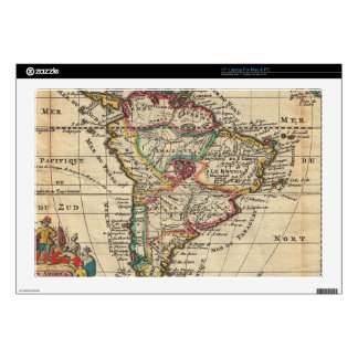 """Vintage Map of South America (1747) 17"""" Laptop Decal"""