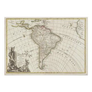 Vintage Map of South America (1762) Poster
