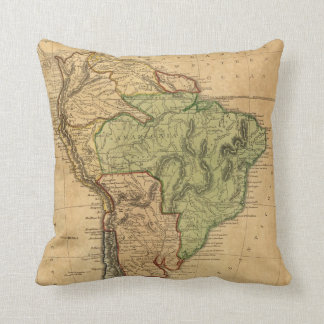 Vintage Map of South America (1821) Throw Pillow