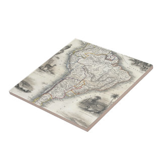Vintage Map of South America (1850) Ceramic Tile