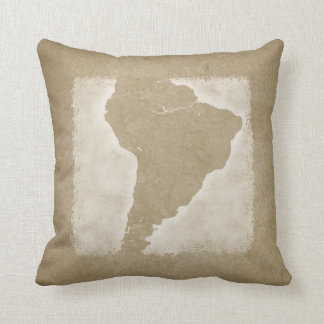 Vintage Map of South America Throw Pillow