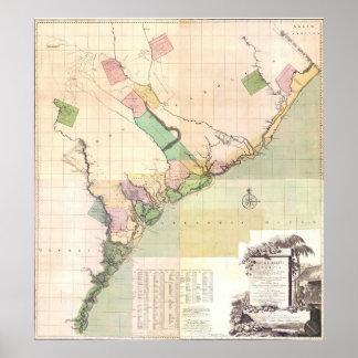 Vintage Map of South Carolina (1757) Poster