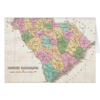 Vintage Map of South Carolina (1827) Card