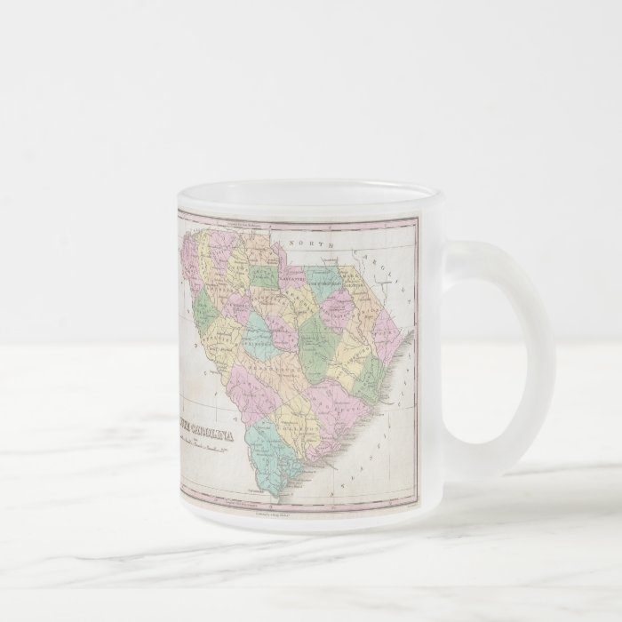 Vintage Map of South Carolina (1827) Frosted Glass Coffee Mug
