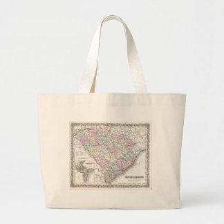 Vintage Map of South Carolina (1855) Canvas Bags