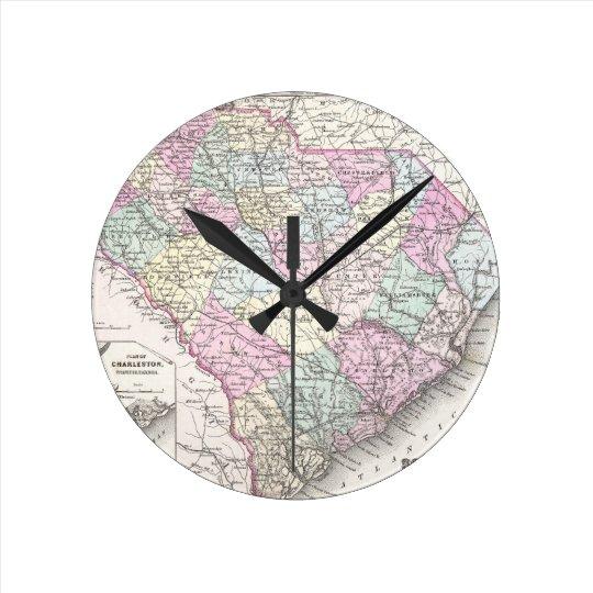 Vintage Map of South Carolina (1855) Round Clock