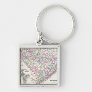 Vintage Map of South Carolina (1855) Silver-Colored Square Keychain