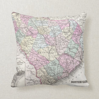 Vintage Map of South Carolina (1855) Throw Pillow
