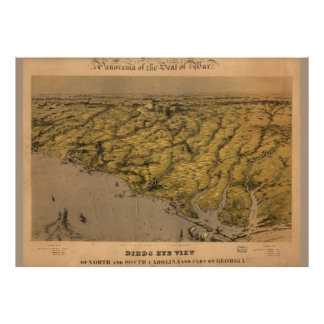Vintage Map of South Carolina 1861 Poster