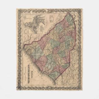 Vintage Map of South Carolina (1865) Fleece Blanket