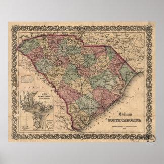 Vintage Map of South Carolina (1865) Poster
