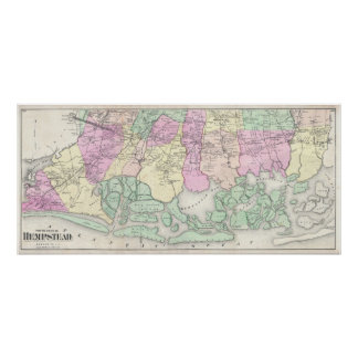 Vintage Map of South Hempstead Long Island (1873) Poster