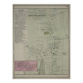 Vintage Map of Southampton New York (1873) Poster