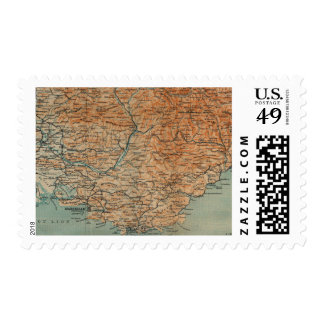 Vintage Map of Southern France (1914) Postage