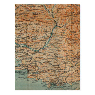 Vintage Map of Southern France (1914) Postcard