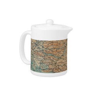Vintage Map of Southern France (1914) Teapot