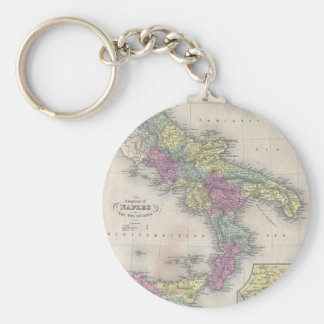 Vintage Map of Southern Italy (1853) Basic Round Button Keychain