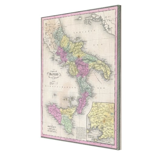 Vintage Map of Southern Italy (1853) Canvas Print