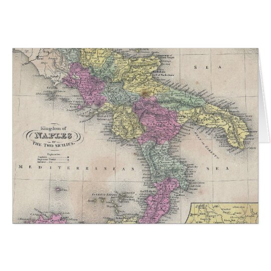 Vintage Map of Southern Italy (1853) Card