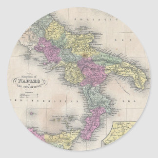 Vintage Map of Southern Italy (1853) Classic Round Sticker