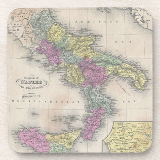 Vintage Map of Southern Italy (1853) Coaster
