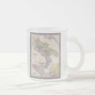 Vintage Map of Southern Italy (1853) Frosted Glass Coffee Mug