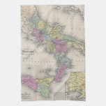 Vintage Map of Southern Italy (1853) Kitchen Towel