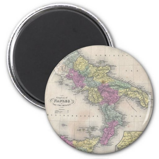 Vintage Map of Southern Italy (1853) Refrigerator Magnet