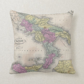 Vintage Map of Southern Italy (1853) Throw Pillows