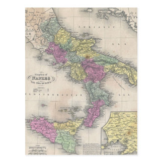 Vintage Map of Southern Italy (1853) Postcard