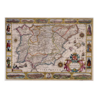 Vintage Map of Spain (1610) Poster
