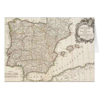 Vintage Map of Spain (1775) Card