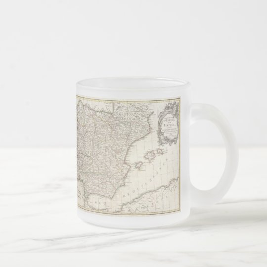 Vintage Map of Spain (1775) Frosted Glass Coffee Mug
