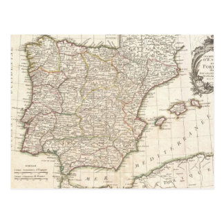 Vintage Map of Spain (1775) Post Cards