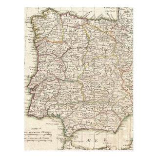 Vintage Map of Spain (1775) Postcard