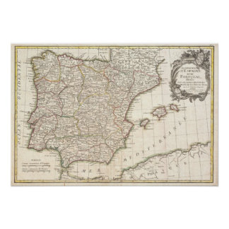 Vintage Map of Spain (1775) Poster
