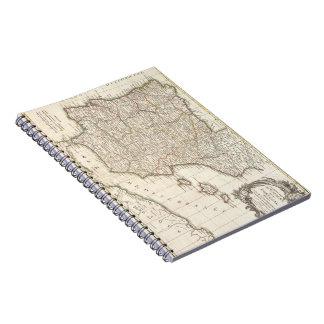 Vintage Map of Spain (1775) Spiral Notebook