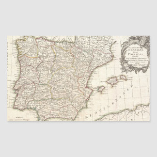 Vintage Map of Spain (1775) Rectangle Stickers