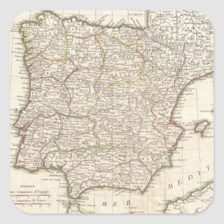 Vintage Map of Spain (1775) Square Stickers