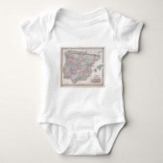 Vintage Map of Spain (1855) Baby Bodysuit