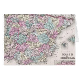 Vintage Map of Spain (1855) Card