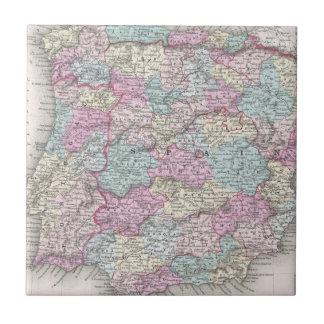 Vintage Map of Spain (1855) Ceramic Tile