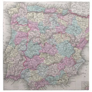 Vintage Map of Spain (1855) Cloth Napkin