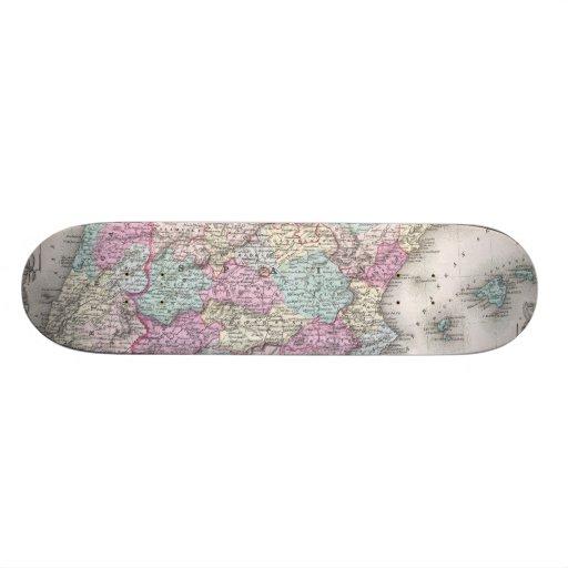 Vintage Map of Spain (1855) Custom Skateboard