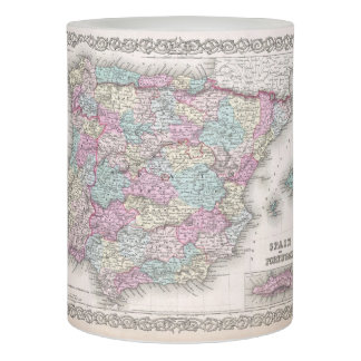 Vintage Map of Spain (1855) Flameless Candle